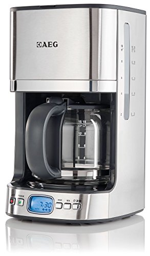 AEG Kaffeemaschine PremiumLine KF 7500 / LCD-Display/programmierbarer Timer / 1,25 Liter Glaskanne/Warmhaltefunktion/Abschaltautomatik/gebürstetes Edelstahl