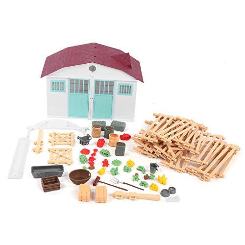 Simulation Farm Modell, Farm Feed Lebensmittelzubehör Spielzeug Set DIY Home Scene Dekoration Modell Spielzeug(Hausset (brauner Zaun))