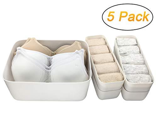 QsQueen Plastic Closet Underwear Organizer Clothes Storage Box Drawer Dividers Under Bed Organizer 5 Set White