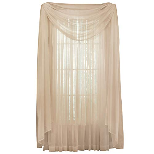 """Collections Etc Solid Sheer 215""""x60"""" Window Scarf Curtain, Taupe"""