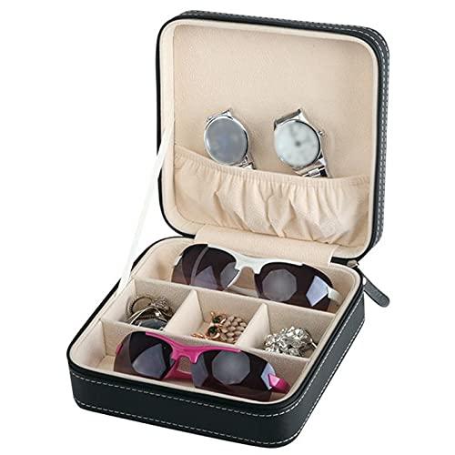 Chytaii Bolsa de Almacenamiento de Gafas Caja de Almacenamiento de Joyas para Gafas Organizador de Gafas de Sol de Viaje con 3 Ranuras, a Prueba de Humedad