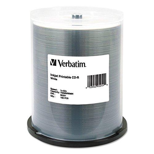 Verbatim CD-R 700MB 52X White Inkjet Printable Recordable Media Disc - 100pk Spindle