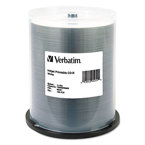 Verbatim CD-R 700MB 52X White Inkjet Printable Recordable Media Disc - 100pk Spindle