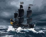 asasI9 DIY Paint-by-Numbers for Adult Children's Room Decoration Art Paint Plaid Painting by Numbers Black Sailing Ship Painting Sets 40X50cm No Frame