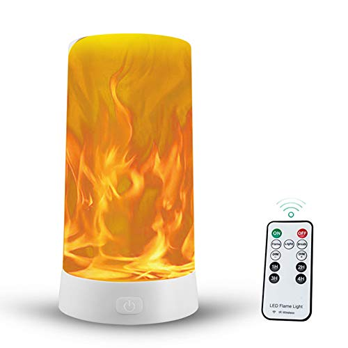 ZR&YW Flame Lamp with Gravity Sensing Effect, IR Wireless Remote & Timer, USB Rechargeable LED Flame Effect Candle 4 Modes Lantern
