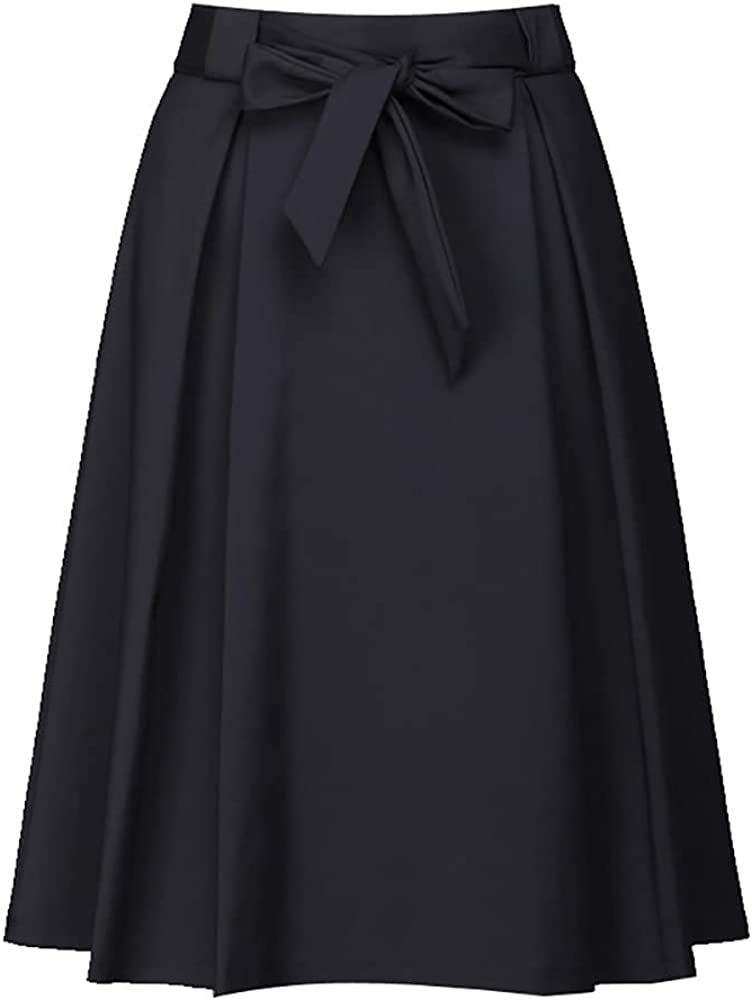 ATHX Women Black Flared High Waist Pleated Swing Midi Skirt with Belt