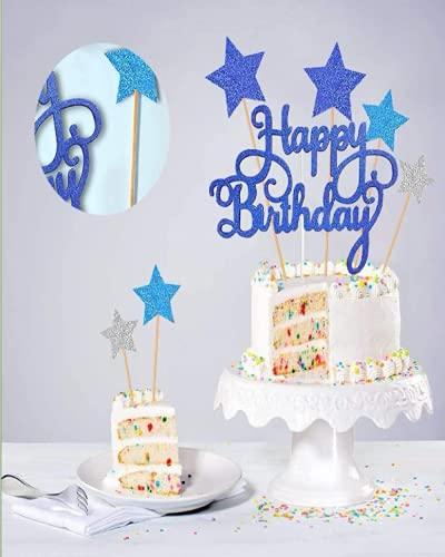 Happy Birthday Cake Topper, Bleu Gâteau Décoration d'anniversaire: Happy Birthday Cake Topper, Bleu Gâteau Décoration d'anniversaire pour Enfants ... Homme, Argent Étoiles Joyeux Anniversaire
