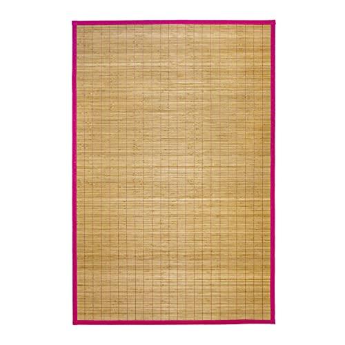 Monbeautapis 348102Bali Alfombra bambú, 48x 33cm, bambú, Fucsia, 48x33x5 cm