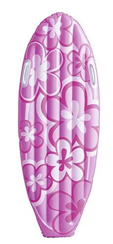 happy-hour-shop Bestway Surfboard aufblasbar Boy & Girl | Luftmatratze für das Wasser mit Griffen 114x46 cm | Badespaß Farbe wählbar blau oder rosa (rosa)