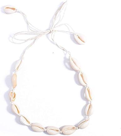 JuanYa - Collar gargantilla para damas playa bohemia terciopelo conchas cadena cuerda borla collar