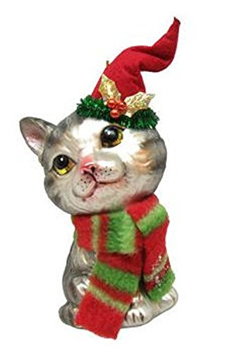 December Diamonds Blown Glass Ornament - Grey Tabby with Stocking Hat
