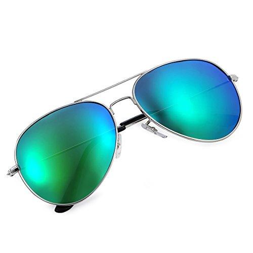 Yveser Polarisierte Sonnenbrille Pilotenbrille für Männer und Frauen Yv3025 (Grüne Linse/Silber Rahmen)