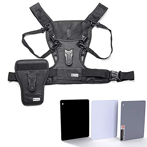 Photographer Vest Dual Camera Harness, Sevenoak Carrying Chest System with Side Holster for Smartphone Lens Canon Nikon Sony DSLR Camcorder Wedding Journalism YouTube Vlog Livestream