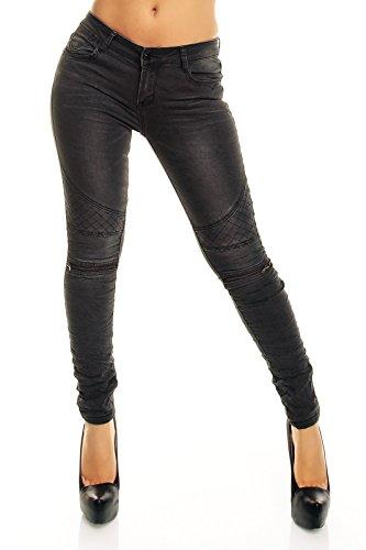 Redial Damen Röhren Jeans mit Zippern am Knie, Farbe:Anthrazit, Größe:M