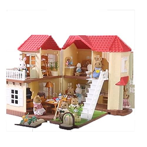 YAHAO Kit de Casa en Miniatura,Iluminación Villa Muebles Niños Niña Simulación Jugar Casa Juguete Casa de Muñecas Regalo de año Nuevo