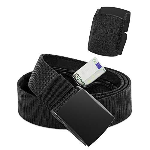 RongXi Cintura Portasoldi Nascosta da Viaggio Antifurto Nylon con Cerniera Interna Taglia Libera per Viaggi, Unisex Nero 120 CM (1 x Metallico & 1 x Plastica Fibbia)