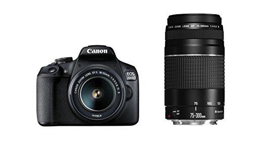 Canon EOS 2000D Spiegelreflexkamera (24,1 MP, DIGIC 4+, 7,5 cm (3,0 Zoll) LCD, Full-HD, WIFI, APS-C CMOS-Sensor) inkl. Objektive EF-S 18-55mm F3.5-5.6 IS II und EF 75-300mm F4-5.6 III, schwarz