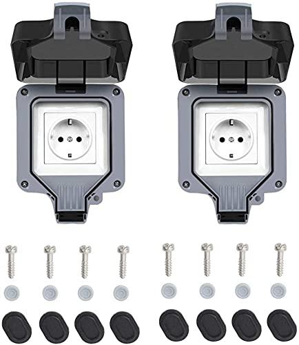Enchufe exterior IP66, resistente a la intemperie, enchufe de alto rendimiento, para ambientes húmedos, protección de contacto de pared, resistente al polvo, con tapa abatible (2 unidades)