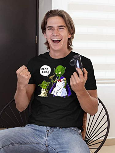 T-Shirt Manga - Parodie Yoda de Star Wars et le Très Haut de Dragon Ball Z - Ton père, je suis... !! - T-shirt Homme Noir - Haute Qualité (847) - Large