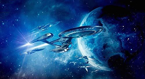 Bricolaje Kit De Pintura por NúMeros, Pintar por Numeros sobre Lienzo para Adultos NiñOs Principiantes Sin Marco-Star Trek Más Allá De La Nave Estelar/40X50CM