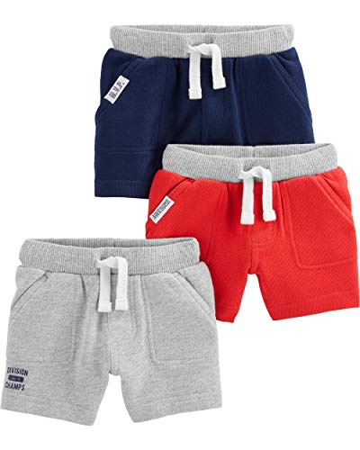 Simple Joys by Carter's Baby and bebé - Pantalones Cortos de Punto para niño (3 Unidades), Red, Gray, Navy, 4T