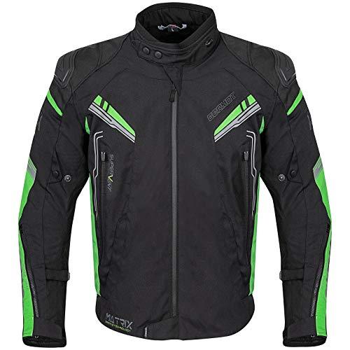 Germot Herren Motorrad-Textiljacke Matrix, wind- und wasserdicht, Blouson, schwarz/grün, 2XL