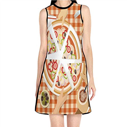Group of Eating Pizza Together Pizza,Womens Comfy Swing Tunic Long Sleeve T-Shirt Dress Food S