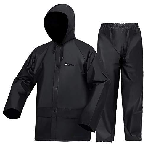 WCBDUT Arbeitskleidung Jacke und Hose Set für Herren/Damen, Ultraleicht Wasserdicht Regenmantel Winddicht Kapuze Regenanzug Regenbekleidung S Schwarz