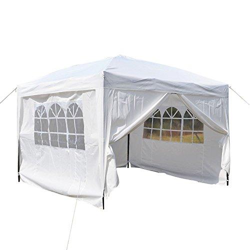Homdox Tenda Gazebo Padiglione Pieghevoli Impermeabile 3M * 3M con Pannelli Laterali Finestra, Eventi, Matrimonio in Giardino in Acciaio Rivestito a Polvere Bianco