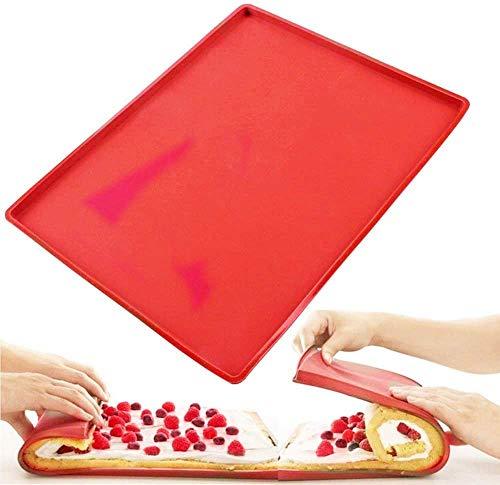 Silikon Backmatte, Silikon Schweizer Rollen Roulade Backen Matten Auflage Nicht Stock Kuchen Backblech Behälter Wiederverwendbar,31.5 x 26.5CM (Farbe zufällig)