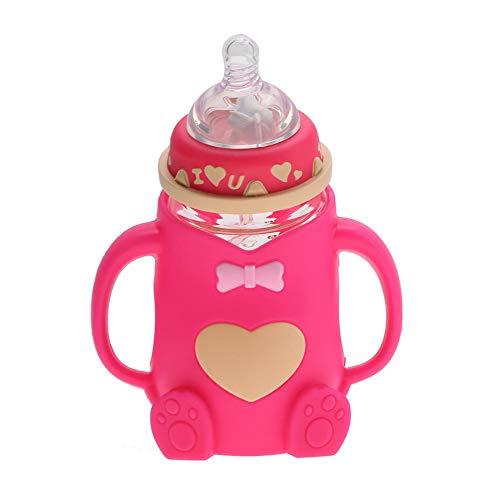 240ml Bambino Infantile Biberon Resistente al Calore Antiscottatura Flusso Normale Bottiglia per Latte Neonati con Capezzolo e Coperchio della Bottiglia per 0-3 Mesi Ragazzo Ragazza (Rosso)