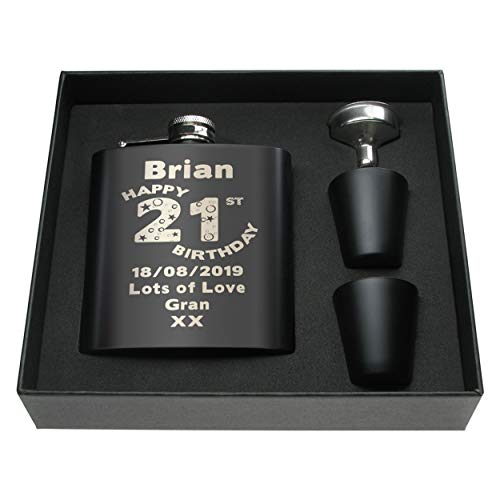 CRAZY TONY'S Mans 21st Birthday Personalised Engraved Black Hip Flask Gift...