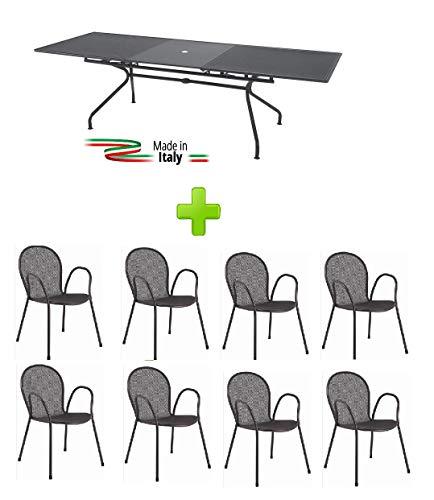 Emu Table Extensible pour extérieur modèle Athena marquage Mesure 160 + 50 x 90H cm – Couleur Fer Ancien + 8 fauteuils Ronda avec accoudoir – Fabriqué en Italie