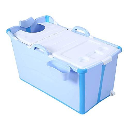 YJTGZ Bañera para Adultos Plegable, Barril de baño Grande portátil, hogar de Cuerpo Completo, niños Aumentan el Lavabo de baño de plástico con Tapa, Azul/Rosa 94 * 50 * 45 cm (Color: Azul)