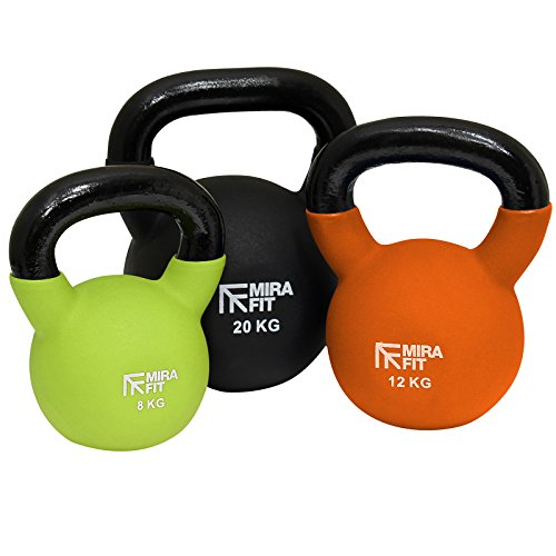Mirafit Soft Touch Cast Iron Kettlebell Weight - Choice of Size & Colour