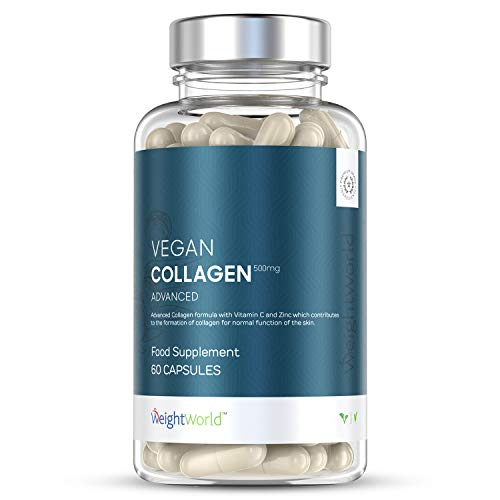 Collagene Vegetale - Vegan Collagen Advanced 500mg - Integratore Vegano con Acido Ialuronico, Vitamina C, Zinco, MSM, Resveratrolo Forte - Proteine Vegane - Antirughe e Cura Della Pelle, 60 Capsule