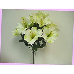 Artificial Green Pink Hibiscus Bush Artificial Silk Flowers 18″ Bouquet 14-4002grpk Bouquet Realistic Flower Arrangements Craft Art Decor Plant for Party Home Wedding Decoration