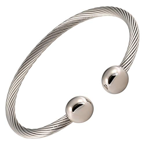 MAGNETJEWELRYSTORE Twisted Stainless Steel Magnetic Therapy Bracelet
