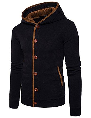 STTLZMC Homme Hiver Chaud Polaires Doublé Sweats à Capuche Cotton Manteaux Doux Blousons Sweat-Shirts Outwear Tops,Noir,M