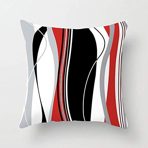 Fundas Para Cojines,Almohada Cojín Tapas De Almohadón Cuadrado Geométrico Impresión Digital En Blanco Y Negro Rayas Gris Rojo Decorativo Para Sofás Camas Sillas Funda De Cojín De 18 X 18 Pulgada