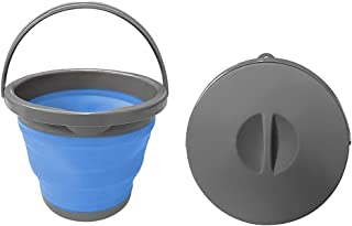 Seau de 5 litres avec couvercle pliable - Seau de nettoyage pour le camping, la pêche, la cuisine - Seau pliable de 5 l.