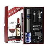 YOMYM Cavatappi Elettrico Apri Bottiglie Senza Filo, 2 Pezzi Include lApri Vino Automatico, Apri Vino a Pressione dAria, Tappi Sottovuoto (2 Pezzi),Taglierina, Versatore Aeratore del Vino