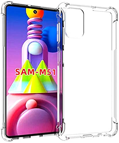 Tarkan Shock Proof Protective Soft Back Case Cover For Samsung Galaxy M51 Transparent Bumper Corners With Air Cushion Technology