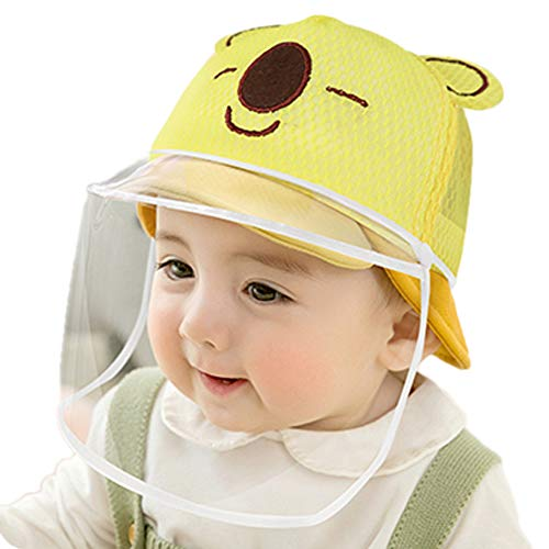 Dual-use Adjustable Sun Visor Hat Kids Isolation Protection Caps Foldable Brim, Cover Face Mask with Removable Transparent Shield (48yards(6-12 Months), Yellow)