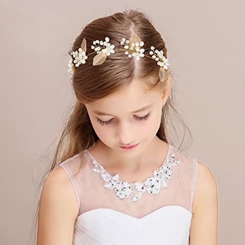IYOU Diadema de perlas de boda con hojas doradas para el pelo...
