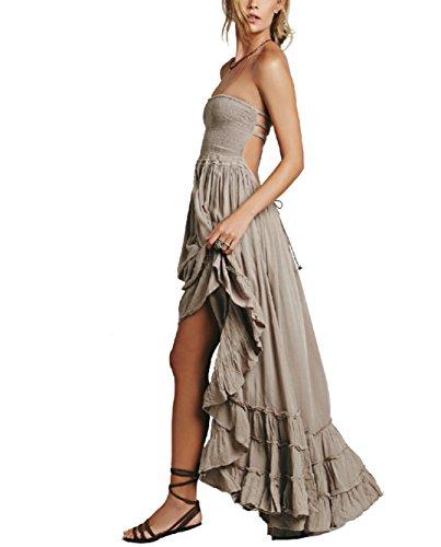 Horbous vestido largo sin tirantes sin tirantes de mujer Long Beach Boho vestido sin tirantes de algodón (5 colores) (Gris), XL