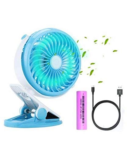 Global Craft Economic Mini Battery Operated Clip Toy Fan,Small Portable Fan Powered by Rechargeable Battery or USB Desk Personal Fan for Kids, Small Model 69434