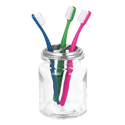 mDesign Zahnputzbecher & Zahnbürstenhalter zum Zahnbürste aufbewahren - Zahnbürsten-Becher aus Glas für bis zu 4 Zahnbürsten - auch zur Schminkaufbewahrung geeignet