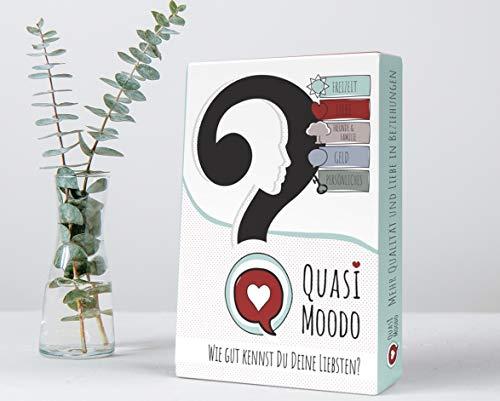 QUASI MOODO Kartenspiel Fragen Fuer Erwachsene Gesellschafts-Spiele Fragekarten Fuer Paare Spielkarten tiefgründige Gespräche