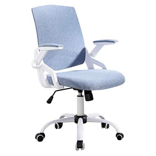 WSDSX Ergonomischer Stuhl Zeitgemäßer Schreibtischdrehstuhl Home Office Aufgabe Komfortstoff mit verstellbaren Klapparmen, Arbeitszimmer für Computertreffen an der Rezeption